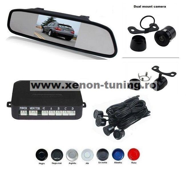 """Senzori parcare cu camera video si display LCD de 4.3"""" in oglinda S604"""