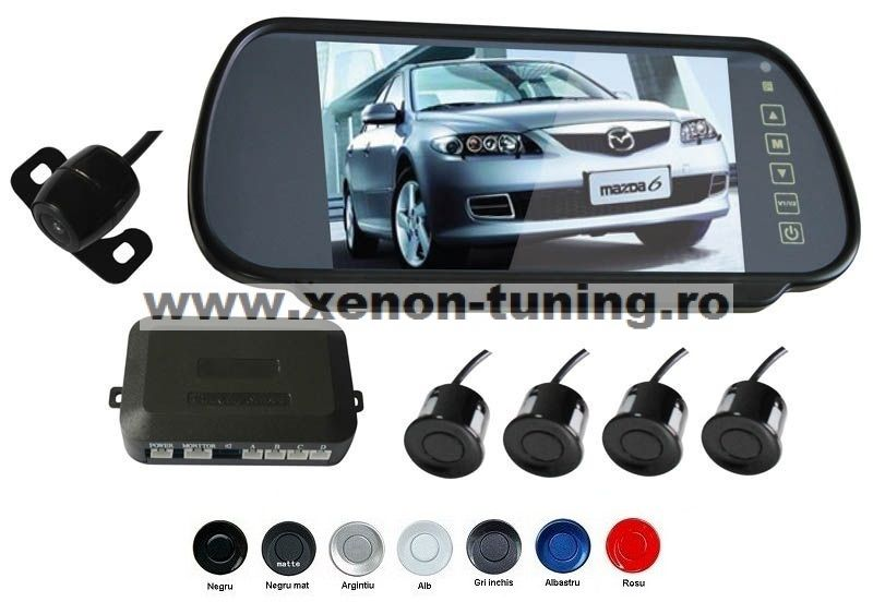 "Senzori parcare cu camera video si display LCD de 7"" in oglinda S608"