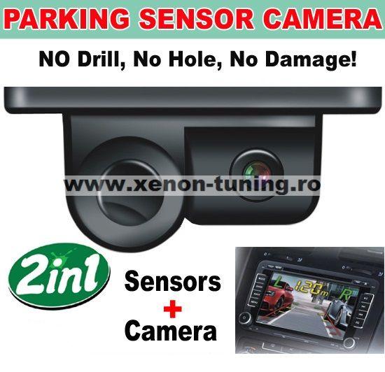 Sistem de parcare 2 in 1 cu camera de marsarier si senzor de parcare incorporat
