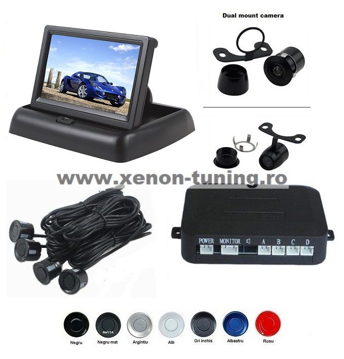 "Senzori parcare cu camera video si display LCD de 4.3"" pliabil S612-P"