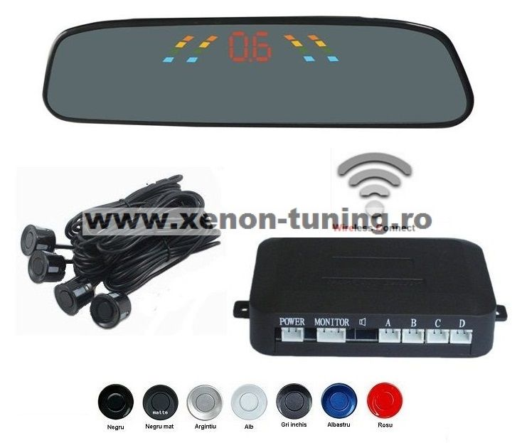 Senzori parcare cu display in oglinda wireless
